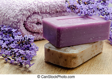 Lavender soap of Marseille with lavender flowers and soft...
