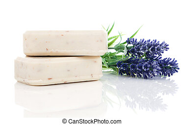 lavender soap on white background.
