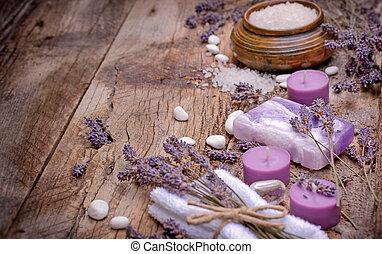 Lavender soap, scented salt and spa stones - spa concept -...