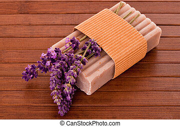 Lavender soap with blossoms