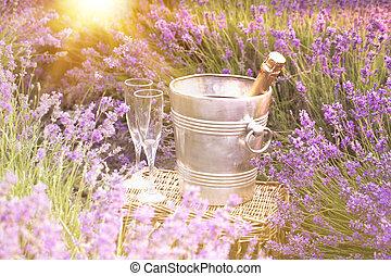 lavender., sur, champagne, délicieux
