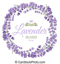 Lavender wreath - Gentle vintage card with hand drawn floral...