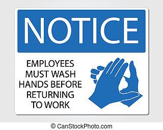 laver, employés, signe, devoir, mains