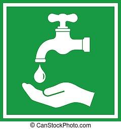 laver, mains, icône