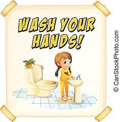 laver, mains