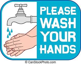 laver, mains, s'il vous plaît, ton, signe