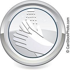 laver, mains, ton, icône