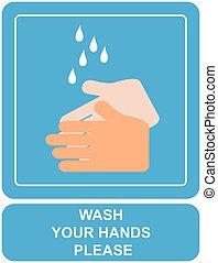 laver, mains, ton, signe