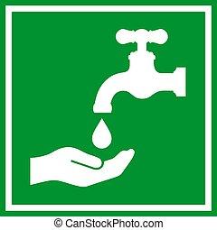 laver, mains, vecteur, signe
