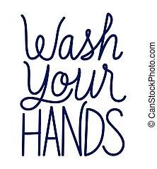laver, texte, ton, mains, vecteur, conception
