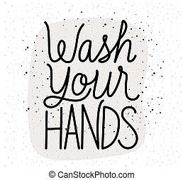 laver, ton, mains, conception, lettrage, vecteur