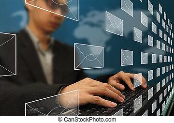 lavorando ufficio, affari, posta elettronica, dattilografia, uomo