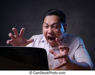 lavorando ufficio, asiatico, uomo affari, laptop, stanco, stress, gesto