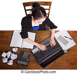 lavorando ufficio, cima, scrivania, vista, donne