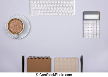 lavorando ufficio, moderno, posto, scrivania, bianco