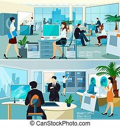 lavorando ufficio, persone, compositions