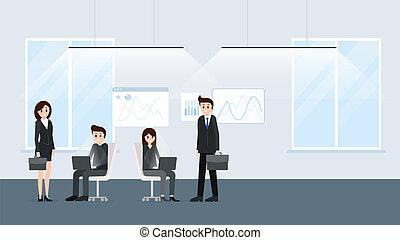 lavorando ufficio, persone, manifesto, insieme, cartone...