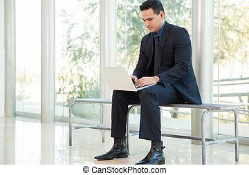 lavorando, uno, laptop