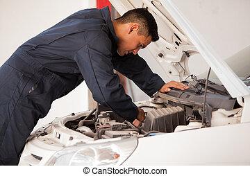 lavorando, uno, motore automobile