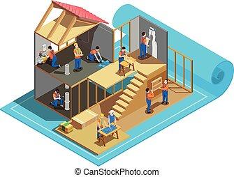 lavorante, costruzione, isometrico, composizione