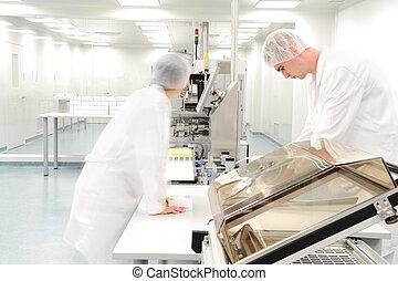lavorante, droga, moderno, fabbrica