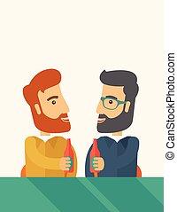 lavorante, due, pub., birra, divertimento, bere, co-,...