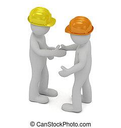 lavorante, duro, due, costruzione, mani scotendo, cappelli