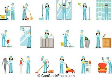lavorante, fornire, pulizia, servizio, in, blu uniforme, set, di, illustrazioni