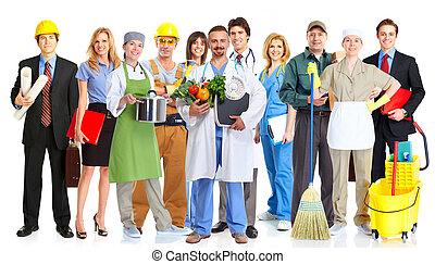 lavorante, gruppo, persone.