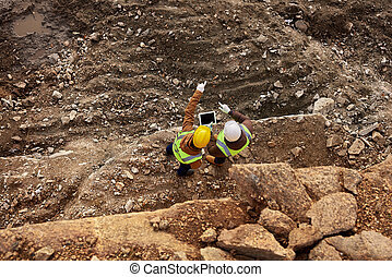 lavorante, luogo, ispezionando, costruzione