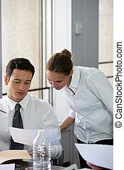 lavorante, riunione, giovane
