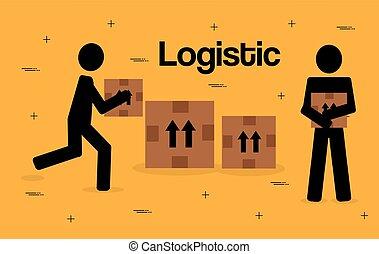 lavorante, silhouette, logistico, servizio
