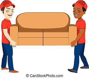 lavorante, spostamento, divano