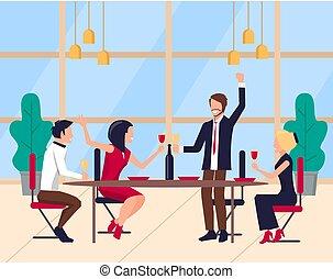 lavorante, vettore, corporativo, festeggiare, squadra, festa