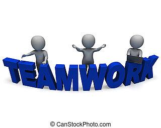 lavorare insieme, lavoro squadra, caratteri, mostra, 3d