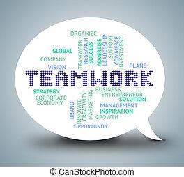 lavorare insieme, unità, lavoro squadra, bolla, mostra
