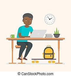 lavorativo, affari, carattere, americano, nero, computer., africano, businessman., uomo