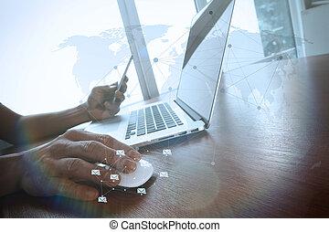 lavorativo, affari, legno, calcolatore uomo, scrivania, mano, laptop