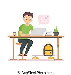 lavorativo, affari, ottenere, carattere, computer, lettera, uomo
