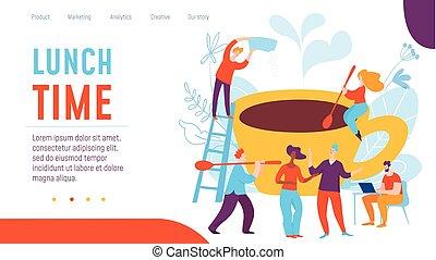 lavorativo, affari, persone., illustrazione, creativo, pranzo, vettore, tempo