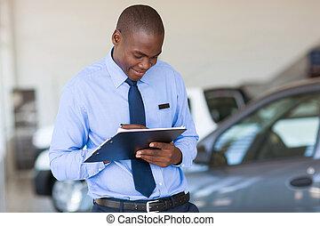 lavorativo, americano africano, veicolo, sala esposizione, uomo