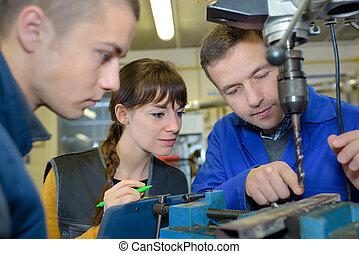 lavorativo, apprendisti, metallo, elaborazione, -, macchina
