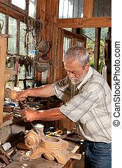 lavorativo, con, legno