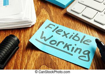 lavorativo, concept., carta, politica, flessibile, pezzo, tavola.