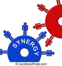 lavorativo, denti, collaborare, insieme, sinergia, mostra