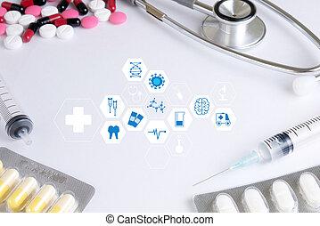 lavorativo, dottore, moderno, mano, medicina,  computer, salute, interfaccia, professionale, cura