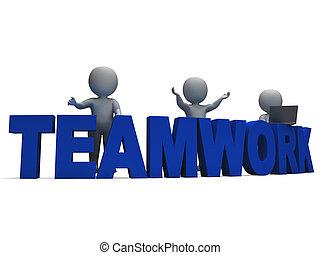 lavorativo, esposizione, insieme, lavoro squadra, caratteri, 3d