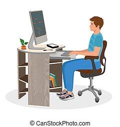lavorativo, illustrazione, vettore, computer, programmazione, uomo