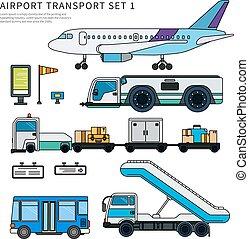 lavorativo, isolato, aeroporto, trasporto, bianco, tipi