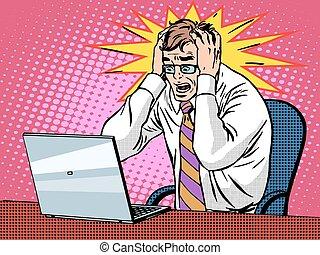 lavorativo, laptop, cattivo, uomo affari, notizie, panico